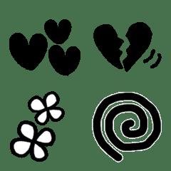 手書きシンプル モノクロ装飾絵文字