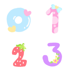 Cutie emoji : number pastel