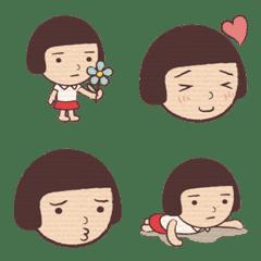 毎日使える女の子絵文字(おかっぱ)