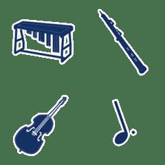 吹奏楽で使う楽器や音符(シンプル)