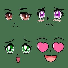 アニメ風女の子の表情顔だけ絵文字