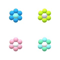 カラフルカラーの立体のお花飾り