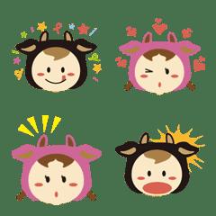 牛ちゃん ぼうや & お嬢 絵文字