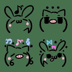 うさぎとぶたの顔文字風・絵文字2