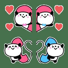 毎日使えるかわいいカップルパンダ絵文字①