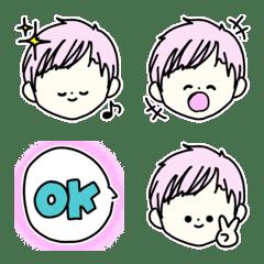 ピンクの髪で男の子も女の子も絵文字/色