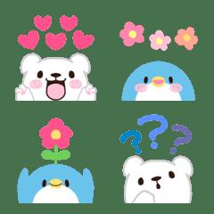 チラッとしろくま&ペンギン♡絵文字
