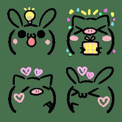 うさぎとぶたの顔文字風・絵文字3