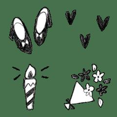 さっぱりクレヨン絵文字(モノクロ)