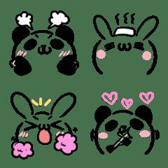 うさぎとパンダの顔文字風・絵文字