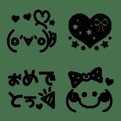 カラフルブラック顔文字♡絵文字