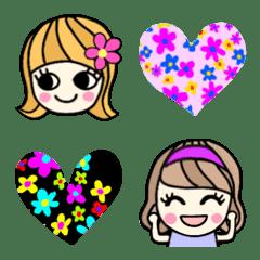 レトロな女の子の絵文字④ 花×ビビッド