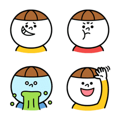 丸い顔の男の子のキャラクターの絵文字。