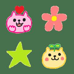 ピンクと黄色のまるい顔のネコ絵文字