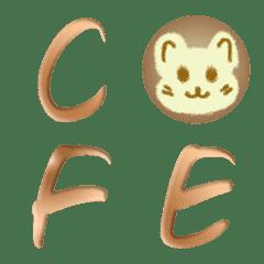 ラテコーヒーアート A-Z 絵文字 かわいい