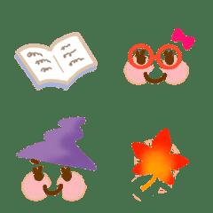 大人可愛いシンプルな絵文字(秋・女の子)