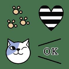 ほんわか猫とモノトーン♡の絵文字