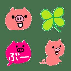 シンプルなピンクのまるいブタちゃん絵文字