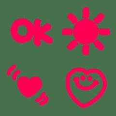 毎日使えるピンクのふんわりクレヨン絵文字