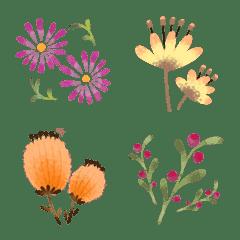 北欧の花と葉っぱのMIX絵文字