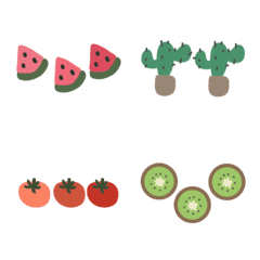 cute fruit,flower and tree line