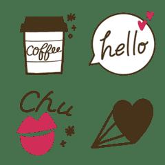 シンプルかわいい♡ブラウン&ピンク絵文字