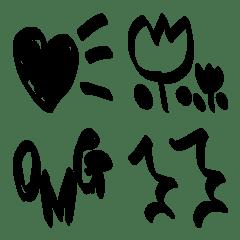 モノクロシンプル絵文字【マーカー風】
