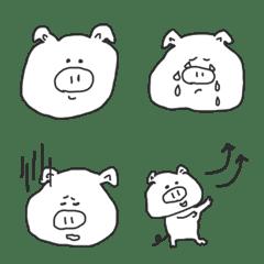 シンプルならくがき白ブタ(絵文字)