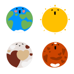 Happy face emoji: solar system