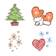 冬の温かクレヨン絵文字、クリスマス絵文字
