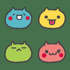 カラフル丸顔ネコちゃん絵文字