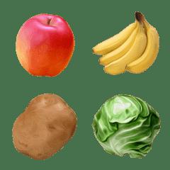 リアルに描くフルーツと野菜の絵文字