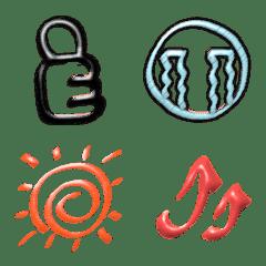 3D❤毎日使うクレヨン色のシンプル絵文字