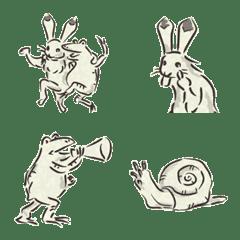 超鳥獣戯画の絵文字2、蛙や兎