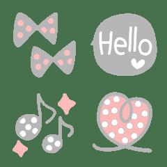 ピンク×グレー×ホワイトのドット絵文字