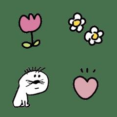 花とハートとゆるい生き物