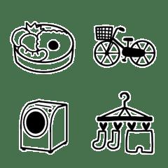 主婦の絵文字(シンプルモノクロ)