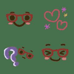 *メガネ*大人カラーのクレヨン絵文字。