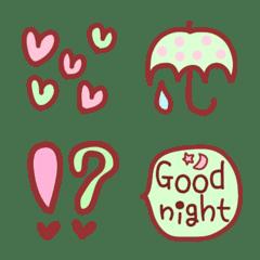 ピンク×グリーン×ブラウン絵文字