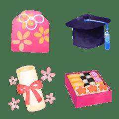 可愛い♥️春の卒業花見・大人の水彩絵文字