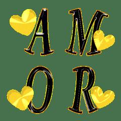 愛でいっぱい (A-Z) 絵文字 ゴールドハート
