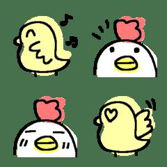 ゆるいニワトリ&ヒヨコの絵文字