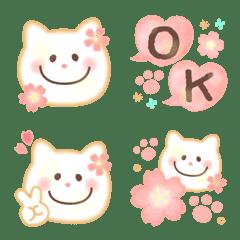 大人カワイイ水彩♥桜パステル白ネコ絵文字