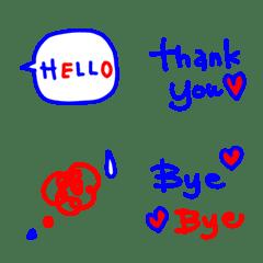 青と赤の大人可愛い絵文字