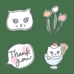 白ネコとお花の使いやすい絵文字♪♡