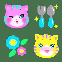 カラフル猫の使える絵文字セット