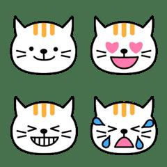 気持ち伝わる顔絵文字:ノラ猫1白キジトラ