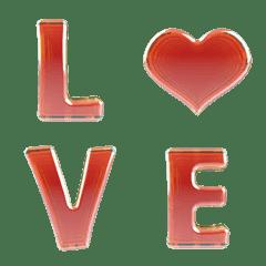 アルファベット及び絵文字-活力的な赤宝石