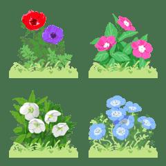 繋がる四季の花と草原