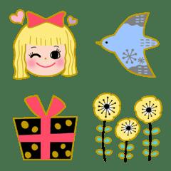 北欧風モチーフと女の子♡ガーリー絵文字1